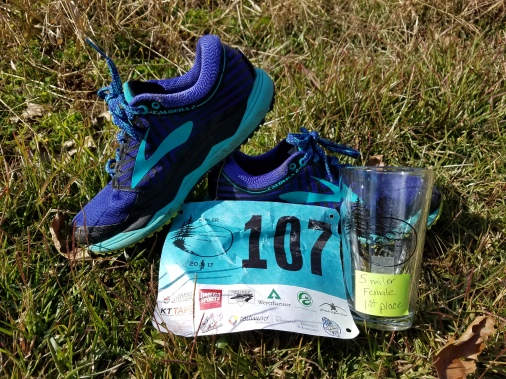 "My shoes, bib and ""trophy"""